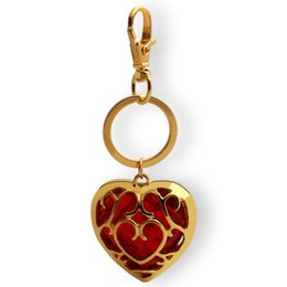 crystal gems Australia - HYS03 European and American Style Movie Zelda Legend Love Heart Shape Hollow Crystal Gem keychain Blue And Red Gold Pandent For Lucky Gift