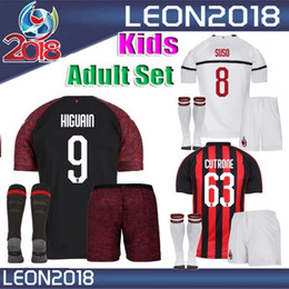 Kids Adult 2018 2019 AC Milan Soccer Jersey set 18 19 CALHANOGLU SUSO  HIGUAIN CUTRONE Home yout child Football Jerseys kit GOMEZ shirt a1798c737