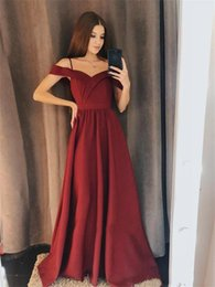 Red Prom Dresses For Juniors Australia - Charming A Line Chiffon Bridesmaid Dresses A Line Off The Shoulder Burgundy Floor Length Party Gowns For Girls Junior Prom Evening Gowns