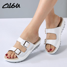 sandals casual Australia - O16u Summer Women Sandals Shoes Platform Leather Buckle Flats Light Soft Ladies Casual Heel Comfortable Slides White Black Blue Y19070503