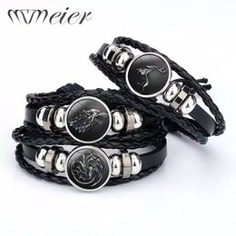Wholesale MMEIER Stark Wolf Style Retro Leather Bracelets House Multi Layers Weave Handmade Punk Black Men Bracelets