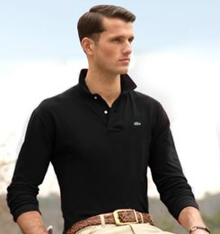 Mens long polo shirts online shopping - 19ss High Quality Classic Crocodile Polo Shirt France Long Sleeve Men Solid Cotton Polos Homme T shirts Mens PoloShirts BD1018