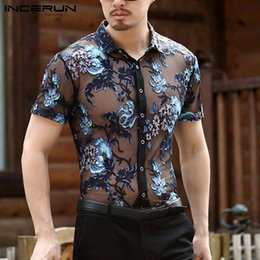 see through men s shorts NZ - Incerun Fashion Men's Shirt Short Sleeve Flower Embroidered Mesh Sexy Shirt Men See Through Slim Fit Transparent Lace Shirt Tops Y19071701