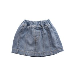 Korea style clothing online shopping - 2019 Fashion Baby girl denim Skirt Boutique Korea Girls clothing Washed blue cotton All matched Y Y