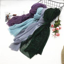 $enCountryForm.capitalKeyWord Australia - Muslim Hijab Gold Silk Plain Gauze Headscarf Women Black Baotou Scarf Caps Cotton Thin Silk Scarf Solid Women Hijab Stole