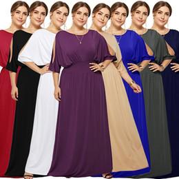 $enCountryForm.capitalKeyWord Australia - Women Maxi Dress Off Shoulder Batwing Half Sleeve Plus Size Long Formal Evening Dress