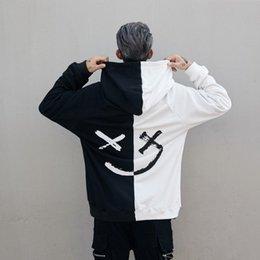 $enCountryForm.capitalKeyWord Australia - Hoodies Sweatshirts Men Hip Hop Color Block Black White Patchwork Male Hoodie Smile Print Streetwear Men Clothes 2018 for Women