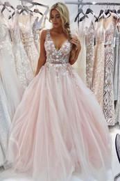 $enCountryForm.capitalKeyWord Australia - Beautiful Pink Backless Prom Dresses With Beaded Flower Gorgeous Evening Ceremony Dresses Plus Size Tulle Formal Graduation Gowns For Women