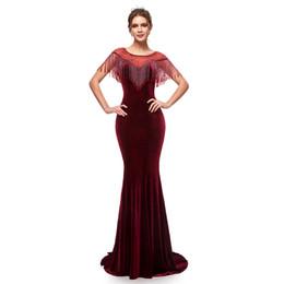 Real Image Elegant Long Burgundy Mermaid Evening Dresses Velvet with Tassel Zipper Back Women Formal Evening Party Maxi Gowns 5400 on Sale