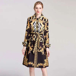 fashion station dresses 2020 - European station women's fashion fashion trench coat palace retro print lapel long sleeve waist belt dress discount
