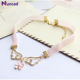 Cherry blossoms neCklaCe online shopping - 2018 Newest Trendy Sweet Necklaces Angel Wings Red Heart Star Cherry Blossoms Choker Necklace For Women Jewelry Gift