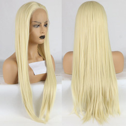 $enCountryForm.capitalKeyWord Australia - Hot Sexy Honey Blonde Color #613 Long Straight Synthetic Lace Front Wig Baby Hair Heat Resistant Fiber Hair Natural Hairline For Black Women