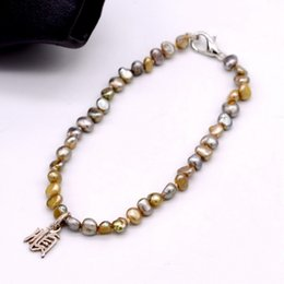 $enCountryForm.capitalKeyWord Australia - Chinese characters with color baroque pearl bracelet handmade sterling silver Chinese characters natural freshwater pearl