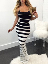 Wholesale summer long dresses for sale - Group buy Hirigin New Women Summer Sexy Striped Slim Dress Off Shoulder Casual Bandage Bodycon Evening Party Long Maxi Dress Skinny