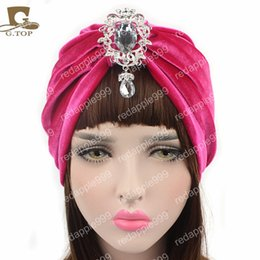 $enCountryForm.capitalKeyWord Australia - New women luxury velvet Turban with diamante pendant brooch hijab head wrap turbante hair accessories
