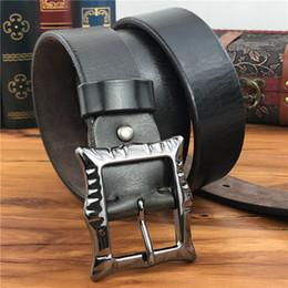 cfd93dd1635d2 Thick Black Belts Australia - Vintage Pin Belt Buckle Men Belt Leather  Genuine Thick Leather Men