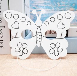 $enCountryForm.capitalKeyWord NZ - Kindergarten Painting Handmade DIY Graffiti Blank Mask Art Material insect Butterfly Cartoon Paper Mask Painting Suitable for Children