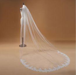 Long Church Veils Australia - Bridal veil mesh lace embroidered pattern long elegant veil wedding wedding mopping beautiful small church veil