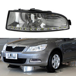 octavia lights NZ - 1 Pair for SKODA OCTAVIA A5 2010 2011 2012 2013 Waterproof style 12V LED Car DRL Daytime running light with fog lamp hole