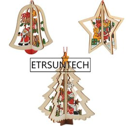 pendant tree NZ - 500pcs Christmas Tree Ornaments Hanging Xmas Tree Home Party Decor 3D Pendants Carved Wooden Pendant Decoration