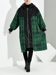 green parka women Australia - Loose Fit Green Plaid Leather Big Size Thick Woolen Coat Parkas New Long Sleeve Women Fashion Tide Autumn Winter 2020