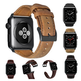 iwatch straps Australia - Vintage Cowhide Leather Strap for Apple Watch Band 44mm 40mm iWatch 5 4 3 2 1 Wristband 42mm 38mm Crazy Horse Texture Bracelet