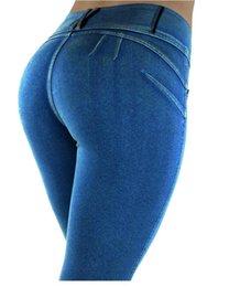 Leggings jeans woman online shopping - European and American high waist leisure stretch pencil pants zipper jeans plus size women s leggings