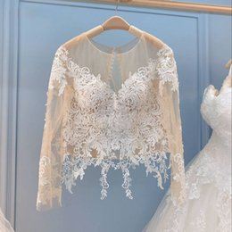 Boleros Champagne For Wedding Dresses Australia - Champagne Lace Bolero Wedding bolero jacket Secret Champagne Wedding Dress long sleeve bolero for Pure Illusion collar Wedding Accessories