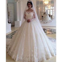 $enCountryForm.capitalKeyWord NZ - Vestido de Noiva luxury Ball Gown Princess Wedding Dress long sleeve Lace Applique Sweep Train wedding Gown Robe de mariee