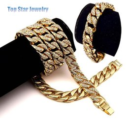 $enCountryForm.capitalKeyWord Australia - 2 pecs Hip Hop ICED OUT Jewelry Sets 24K Gold Plated Full Diamond Necklace & Bracelet Men MIAMI CUBAN LINK CHAIN Bling Bling Accessory