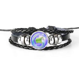 $enCountryForm.capitalKeyWord Australia - 2019 New Women Men Bangles Handmade Adjustable Leather Rope Bracelets Bohemian 12 Constellations Zodiac Aquarius Time Gem Glass Dome Jewelry