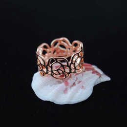 $enCountryForm.capitalKeyWord Australia - Wholesale- G43 Rose Gold filled Overlay Jewelry Party bague Hollow Out Rings for women wedding Ring engagement Accessories