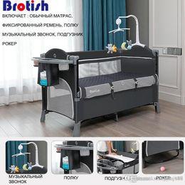 Brotish Newborn multifunctional crib stitching bed, newborn cradle bed, game bed, portable folding crib easy to travel on Sale