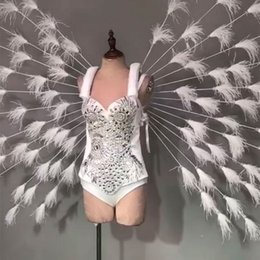 Discount white feather costume wings - White crystals Bikini Rhinestones feathers Wing Female Party Fashion Show Stage Outfit Nightclub DJ Singer Performance C
