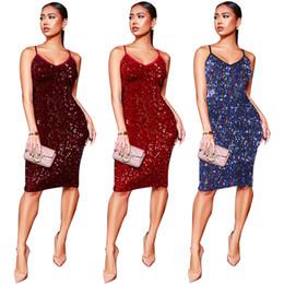 Women Clothes Shiny Sequins Party Dress Spaghetti Straps Women Sexy V Neck  Sleeveless Bodycon Midi Club Dress Female Vestidos Outfits c577dd06df46