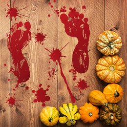 Resin adhesive stickeRs online shopping - Halloween Decoration Self Adhesive Stickers Red Blood Footprints Bloody Handprints Stickers CM