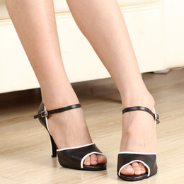 leather high Canada - Black And White Leather High-heeled 8.5cm Latin Dance Shoes Soft Outsole Women's Ballroom Dancing Shoes Salsa Sandals