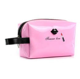 China Waterproof cosmetic bag mirror synthetic leather PU make up brushes organizer, storage pouch lip, lipstick pattern make up bag supplier make lipstick waterproof suppliers