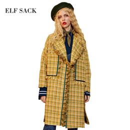 c82f14fa212e1 ELF SACK Women Wool Blend Coats British Grid Long Coat Womens Vintage Plaid  Pockets Turn Down Collar Elegant Tassel Outerwear D18122602