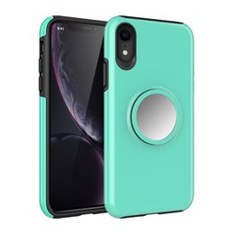 Wholesalers For Iphone Cases Australia - 2in1 Hard PC Soft TPU Shockproof Mobile Phone Case For Apple Iphone XS Max With Mirror Airbag Bracket Stand Candy Color