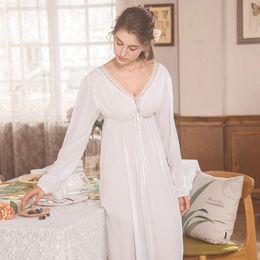 927b7a6a739 Elegant High Waist White Sleepwear Women Nightgowns Long Sleeve V Neck Night  Wear Sleep Shirt Vintage Lace Home Dress Ladies