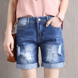 xl girl denim shorts UK - 2020 New Fashion Women Ripped Denim Shorts Girls Summer Casual Curling Pockets Hole Zipper Short Jeans Plus Size T200704