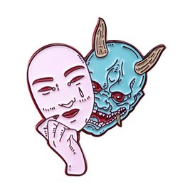 Wholesale japanese demon mask resale online - Hannya mask brooch horror demon woman pin Japanese culture inspired jewelry
