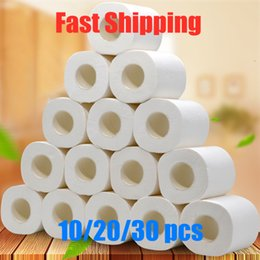wholesale rolling papers free shipping NZ - Free Ship to US 10 Roll 4ply White Toilet Paper Native Wood Pulp Tissue Hollow Replacement Roll Paper Household Prevent Flu Toilet Tissue