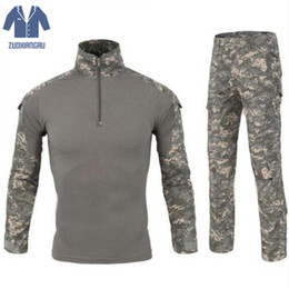MulticaM caMouflage clothing online shopping - Camouflage Tactical Clothing Paintball Army Cargo Shirts Combat Trousers Multicam Militar Tactical Sets With Knee