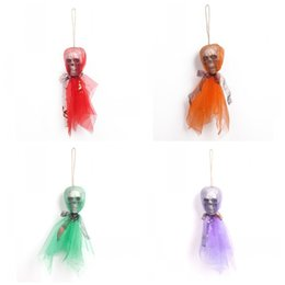 party themes decorations Australia - Terrifying Hang Skull Dolls Foam 4 Colors Children Party Toys Ghost Toy For Halloween Theme KTV Decoration 3 8ys E1