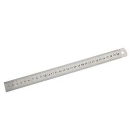 Venta al por mayor de 3Pc 15cm / 30cm Regla recta de acero inoxidable Precisión Herramienta de medición de redacción de papelería de oficina de aprendizaje de doble cara