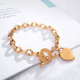 $enCountryForm.capitalKeyWord Australia - Elegent Love Bracelets for Women Girls - Stainless Steel Link Chain Heart Charms Bracelet for Women 18cm Length Toggle Clasp Closure
