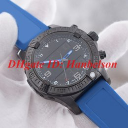 Wholesale New sports Men s watch VB5510H2 Quartz electronic dual time zone display high quality Black stainless steel case Blue rubber strap WristWath