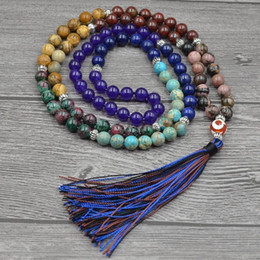 silicone knot NZ - 7 Chakra Mala Unique 8mm Natural Stone Long Tassel Necklace Women Meditation Necklace Knotted Bead Yoga Necklace Jewelry Y19050901